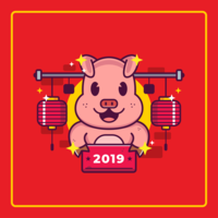 Año nuevo chino cerdo vector