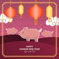 Flat Cute Chinese New Year 2019 With Pig Character Vector Background Illustration