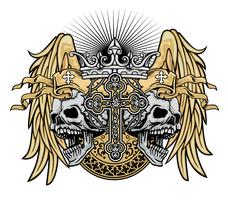 grunge skull coat of arms