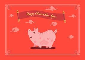 Ilustração em vetor porco chinês ano novo