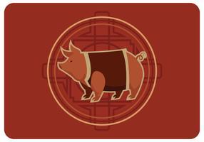 Vector de año nuevo de cerdo chino