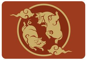 Vector de ano novo chinês gêmeo porco