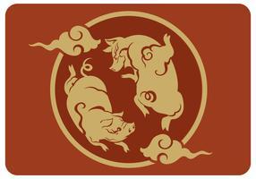 Twin Pig Kinesisk Nyår Vector