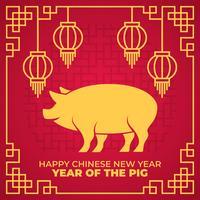 Feliz año nuevo chino 2019 año de la ilustración vectorial de cerdo