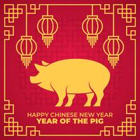 Happy Chinese New Year 2019 Year Of The Pig Vector Illustration
