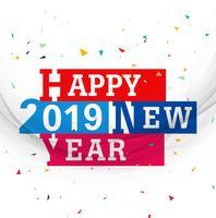 Vecteur de fond coloré joyeux nouvel an 2019