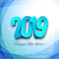 Celebração 2019 colorido feliz ano novo vetor de fundo