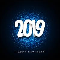 Gelukkige nieuwe jaar 2019 kleurrijke vieringsachtergrond