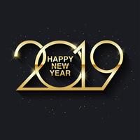 Happy New Year 2019 text design vector