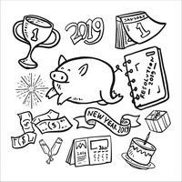 Año Nuevo 2019 Doodle Icon Set
