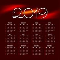 Abstract New Year 2019 colorful calender design
