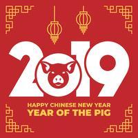Chinesisches Tierkreis-Zeichen-Jahr der Schablone des roten Schweins 2019
