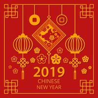 Kinesiskt nytt år 2019 vektor