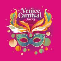 Glad Venedig Carnival Party Concept med Venetian Mask Illustration