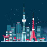 Tokyo City Skyline Detailed Silhouette and Fuji Mountain Background