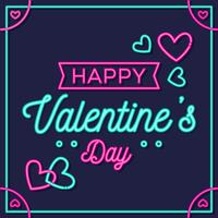 Happy Valentine Day Neon Style Vector