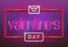 Neon logo, label, emblem. Happy Valentine's Day. Neon sign, bright signboard, light banner.