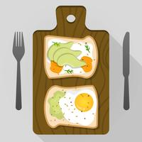 Flat Avocado Toast För Frukost Vector Illustration