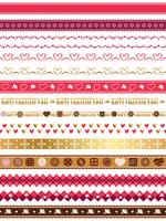 Set of assorted seamless borders for Valentine's Day.