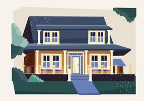 Vintage House Exterior Vector Flat With Watercolor Style Illustration