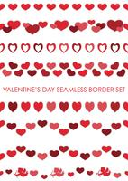 Set of Valentine's Day seamless borders.