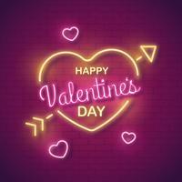 Vector de San Valentín de neón