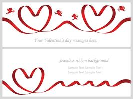 Set of two Valentine's Day cards with seamless red ribbons.