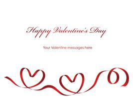 Valentine card template with a red ribbon and text space.