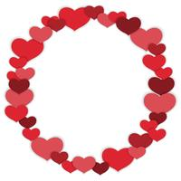 Valentine's Day vector circle frame illustration.