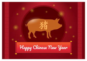 Chinese New Year Pig Greeting vector