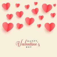 lovely flying papercut hearts valentines day background