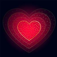 beautiful glowing red heart on dark background