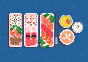 Bento Box on Blue Background