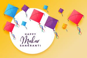 happy makar sankranti with flying kites festival background