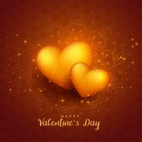 glowing golden 3d hearts valentines day background