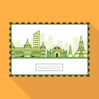 Flat Modern Bangkok City Landmarks On Stamp Vector Illustration