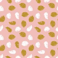 Seamless hand drawn tropical  pattern. Vector background with monstera.