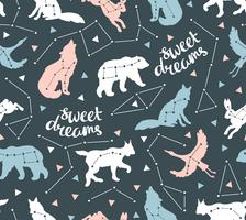 Seamless pattern with star animals vector