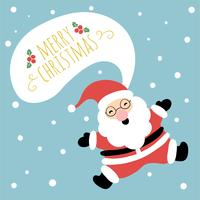Cute Santa Smiling And Jumping With Speech Bubble