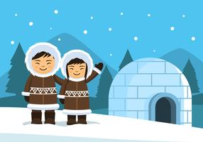 Eskimo Folk Illustration