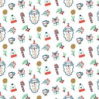 Pattern with Santa, Gift, Cookies and Candy Cane