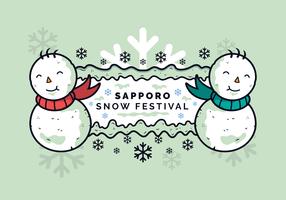 Bannière Bonhommes de neige du festival de la neige de Sapporo