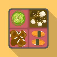 Flat Japanese Bento Box Vector Illustration