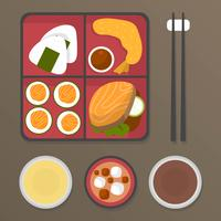 Flat Bento Box Meals Vector Illustration
