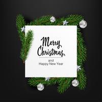 Vector de Navidad con forma de fondo de diseño cuadrado con ramas de abeto