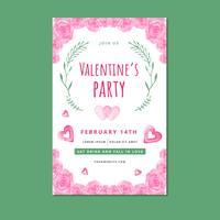 Valentine's Fyer Template With Pink Roses, Leaves And Hearts
