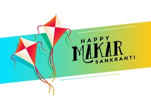 happy makar sankranti festival with flying kites background