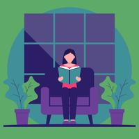 Girl Sitting In Armchair Reading Books Bookworm Vector Illustration