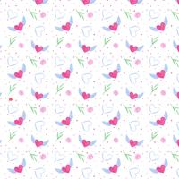 Cute Valentine's Day Pattern With Heart And Leaves