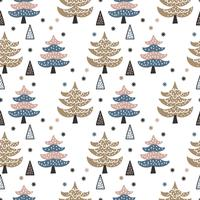 Scandinavian Winter Pines Forest Vector Pattern